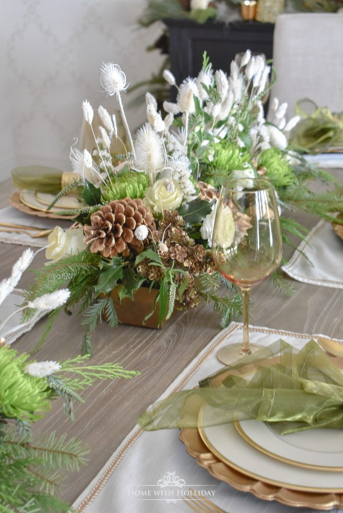 My Elegant Green and Gold Christmas Tablescape - Home with Holliday