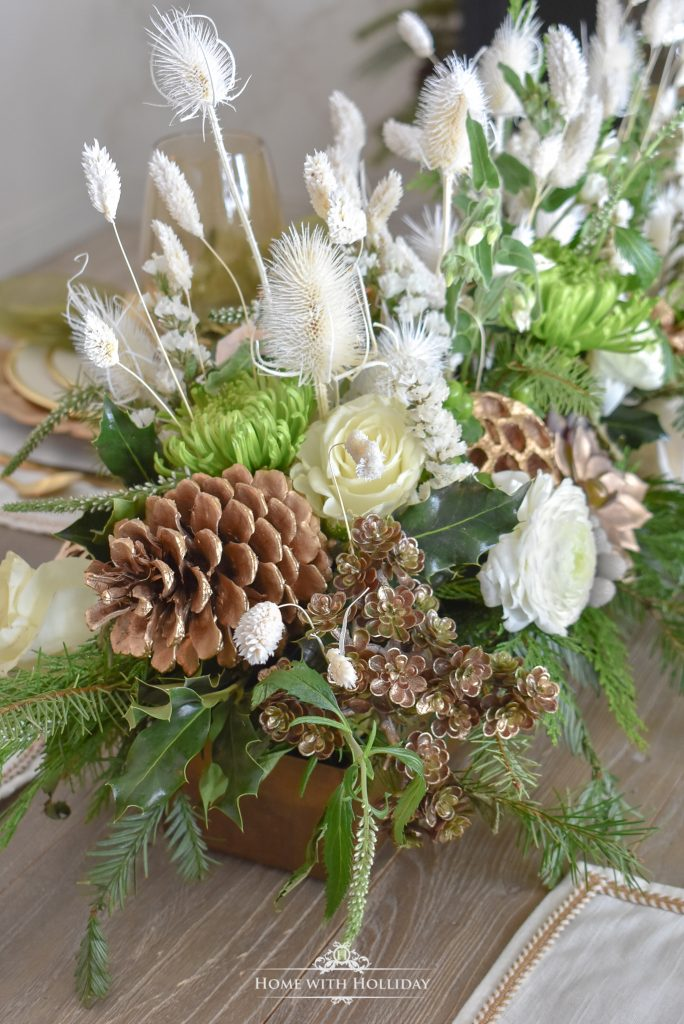 Florals for an Elegant Green and Gold Christmas Tablescape - Home with Holliday