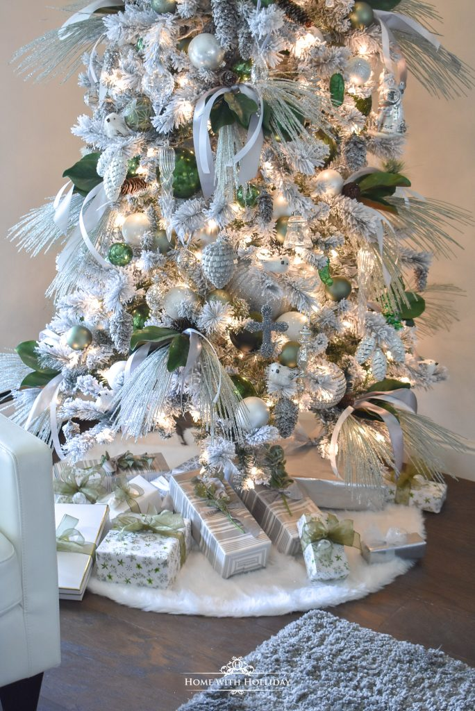 Trimmed Flocked Green and White Pine Cone Themed Christmas - Home with Holliday