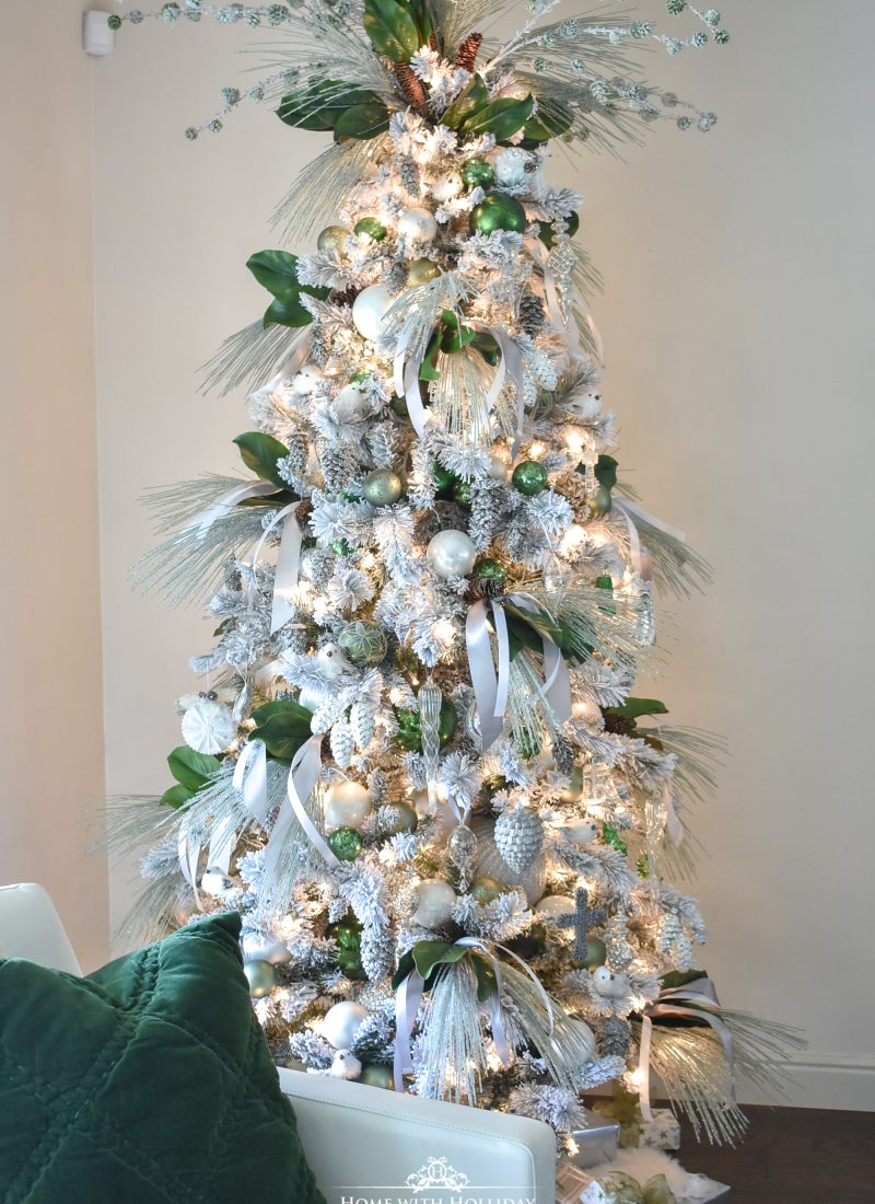 Home with Holliday's Top Ten Posts of 2019 - Pine Cone Themed Flocked Christmas Tree