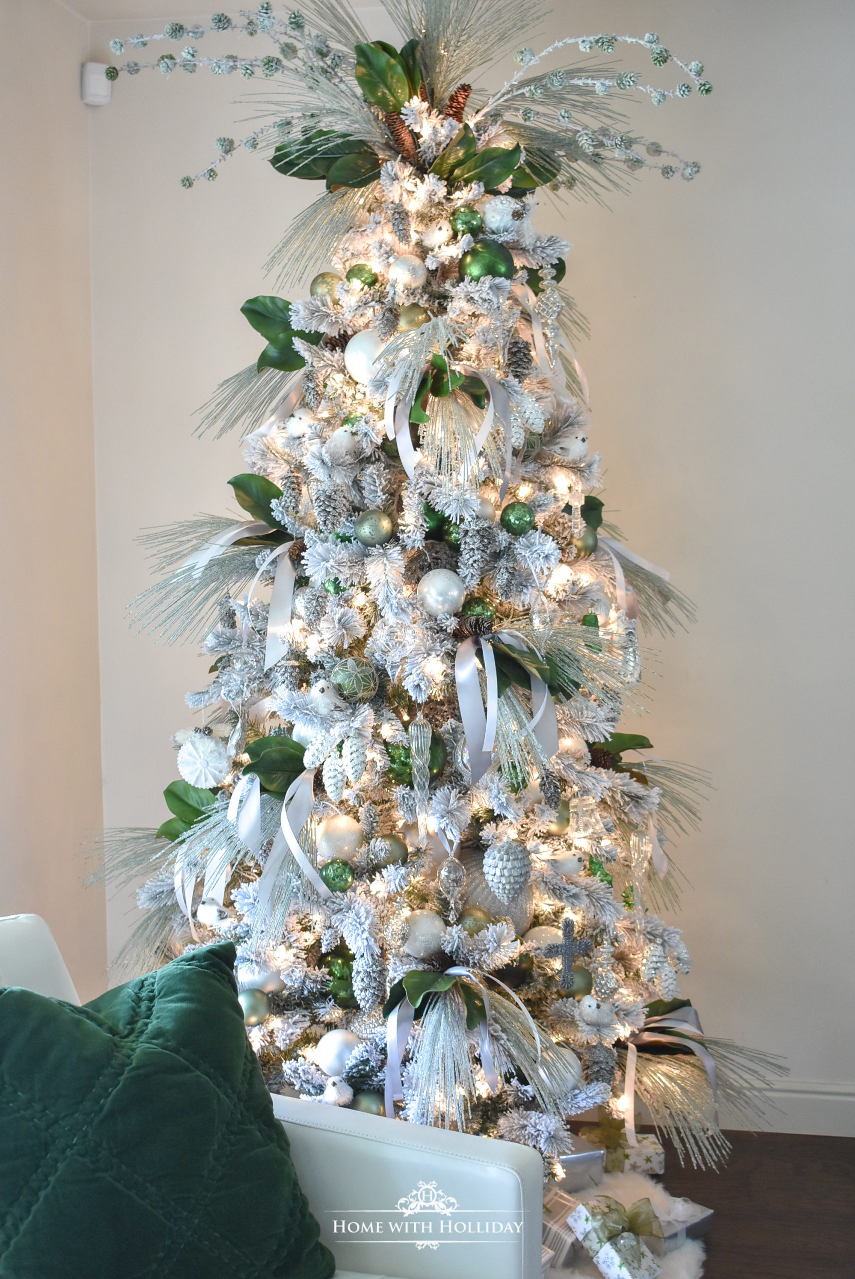Flocked Green And White Pine Cone Themed Christmas Tree Home With Holliday