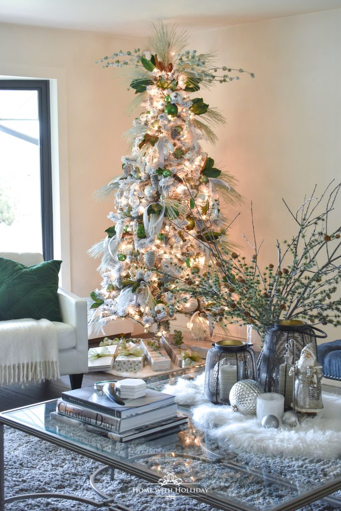 Flocked Green and White Pine Cone Themed Christmas Tree - Home with Holliday