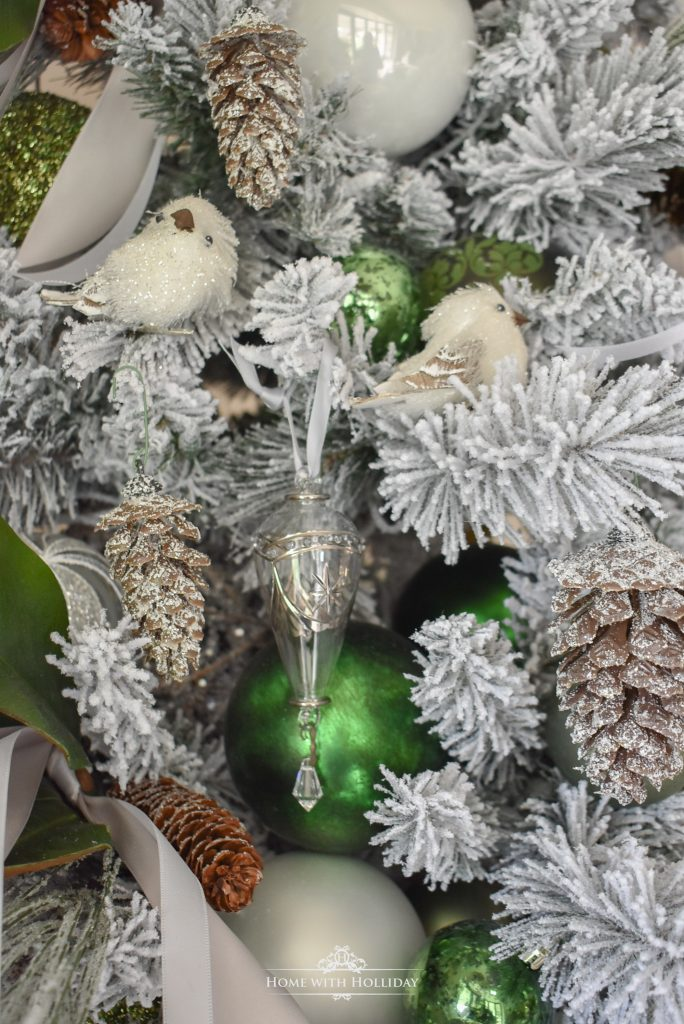 Flocked Green and White Pine Cone Themed Christmas Tree Ornaments - Home with Holliday