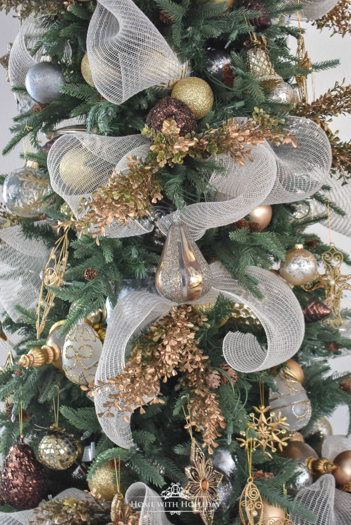 A Mixed Metallic Woodland Christmas Tree - Home with Holliday