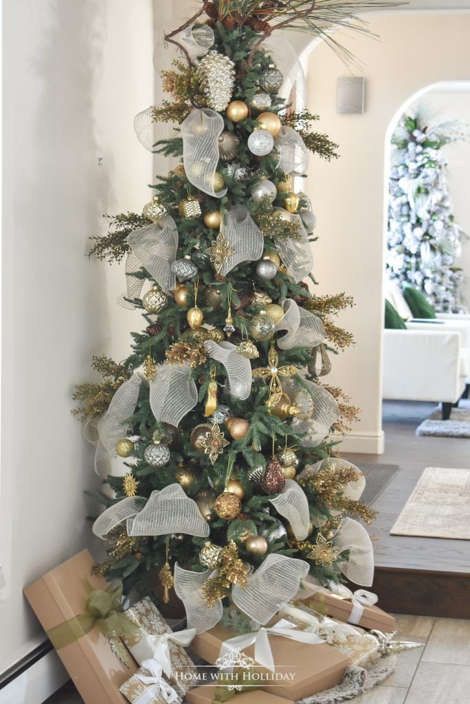 An Elegant Mixed Metallic Woodland Christmas Tree - Home with Holliday