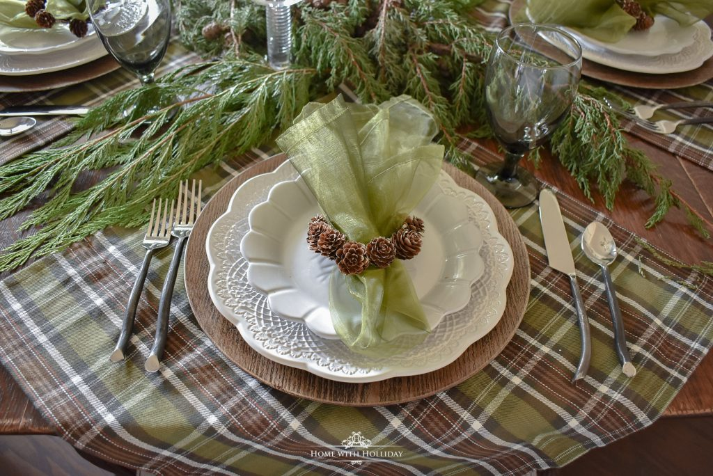 Simple Pine Cone Themed Christmas Table Settings - Home with Holliday