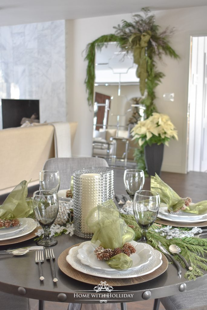 Elegant Pine Cone Themed Christmas Table Settings - Home with Holliday