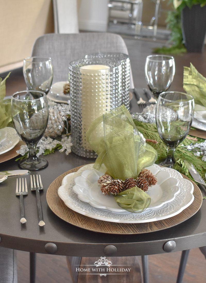 Pine Cone Themed Christmas Table Settings