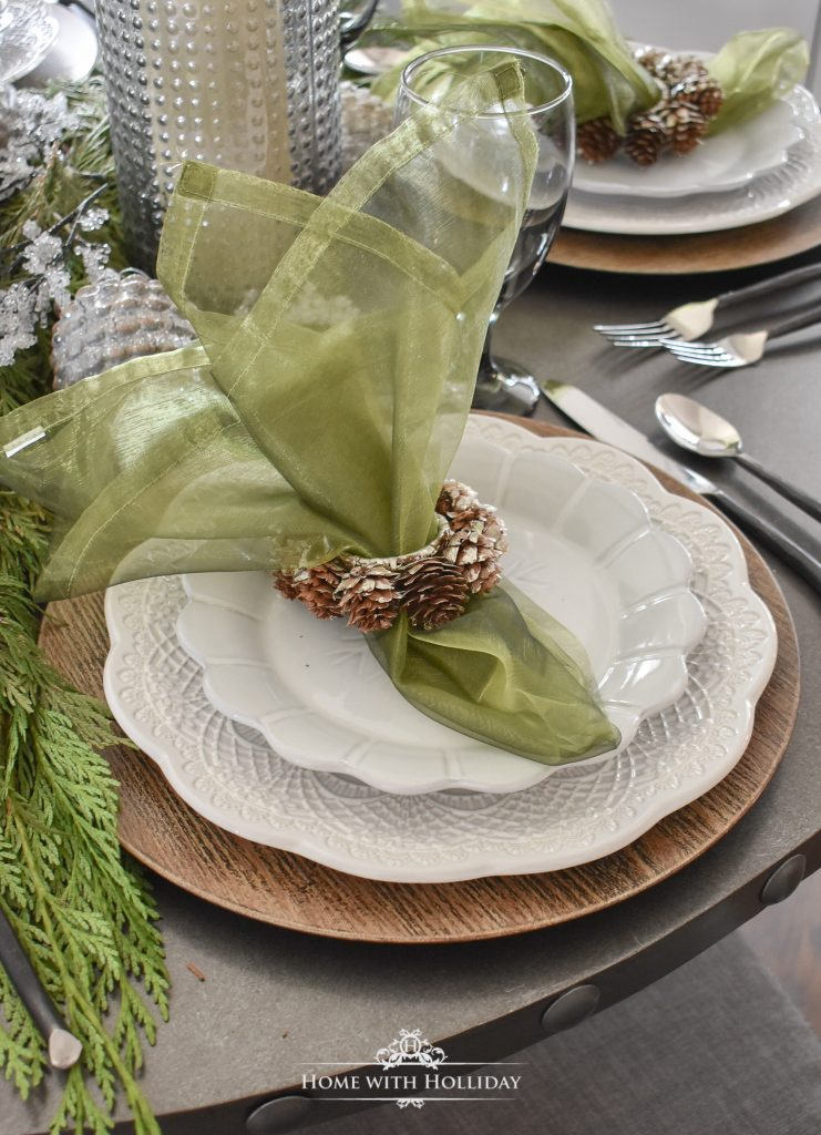 A few Pine Cone Themed Christmas Table Settings - Home with Holliday
