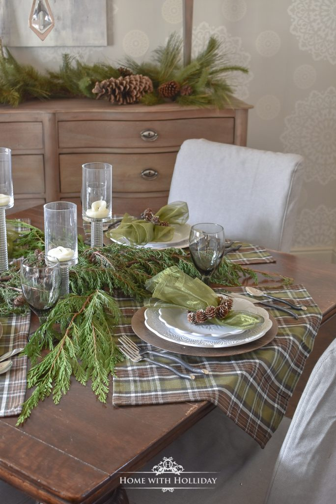 Casual Pine Cone Themed Christmas Table Settings - Home with Holliday