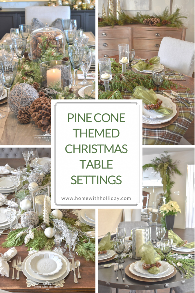 Pine Cone Themed Christmas Table Settings - Home with Holliday