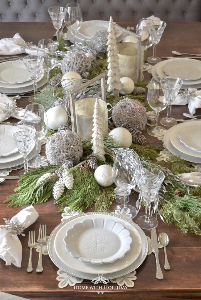 Winter White Pine Cone Themed Christmas Table Settings - Home with Holliday