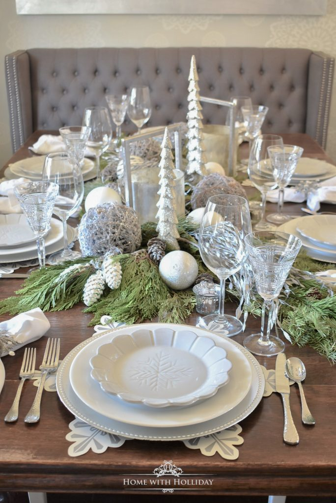 Winter Pine Cone Themed Christmas Table Settings - Home with Holliday
