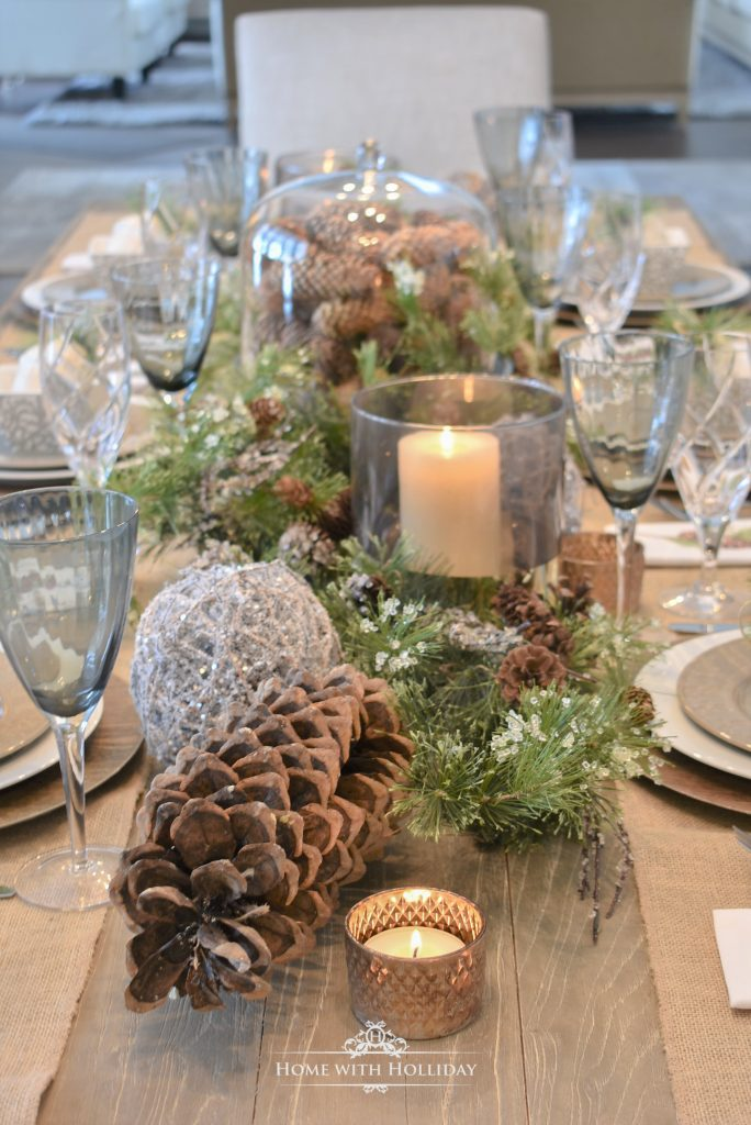 Woodland Pine Cone Christmas Table Settings - Home with Holliday