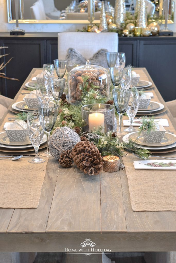 Woodland Pine Cone Christmas Table Setting - Home with Holliday