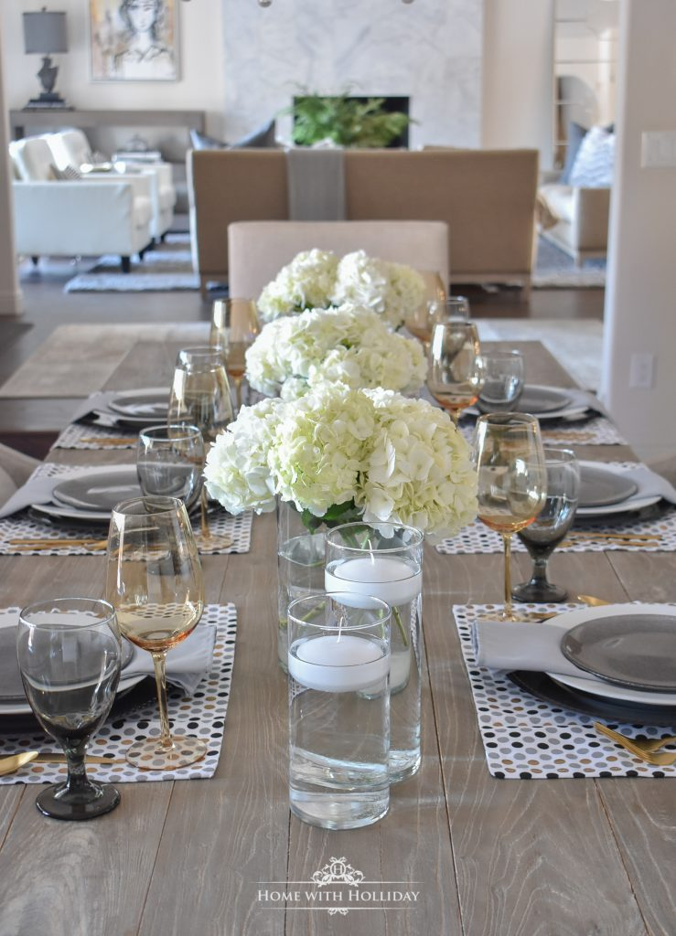 Easy and Elegant Inexpensive Centerpiece with Hydrangeas - Home with Holliday