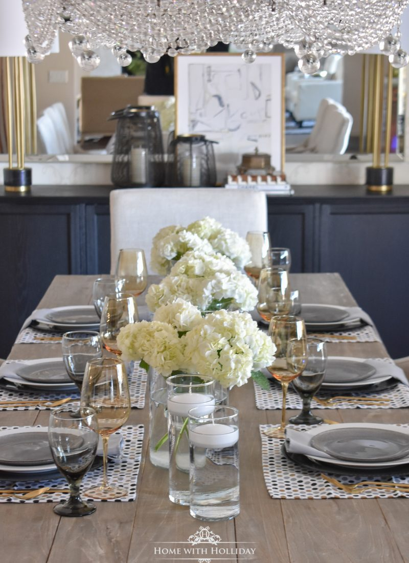 An Easy and Elegant Inexpensive Centerpiece with Hydrangeas - Home with Holliday