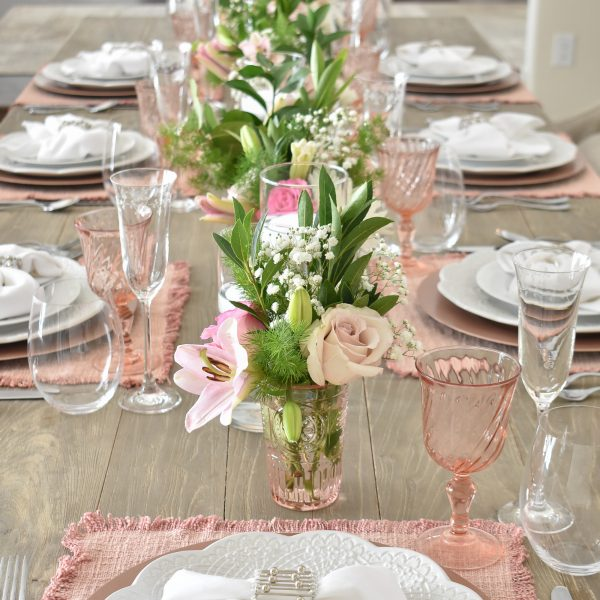 Blush Pink and White Valentine's Day Tablescape