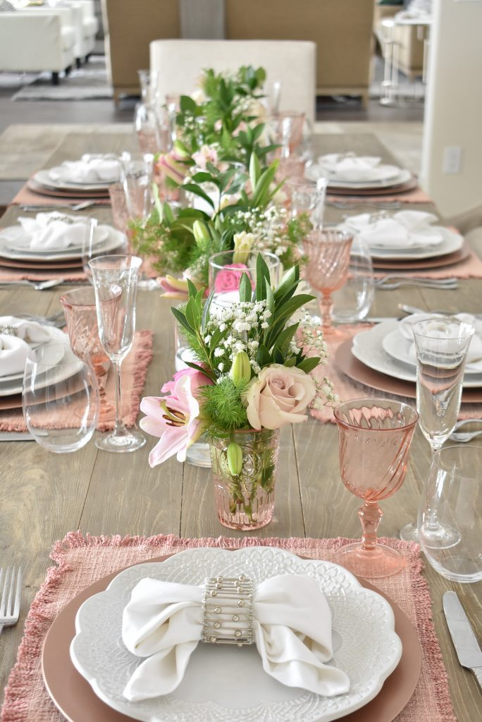Blue Pink and White Easter Tablescape with Bow Napkins