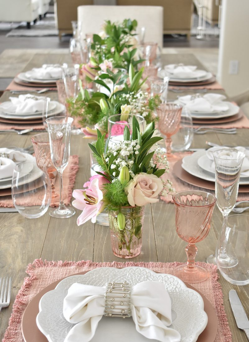 Blue Pink and Green Easter Tablescape Inspiration - Home with Holliday