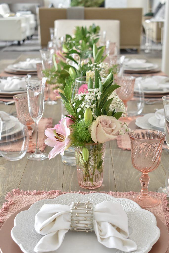 Elegant Blush Pink and White Valentine's Day Tablescape - Home with Holliday