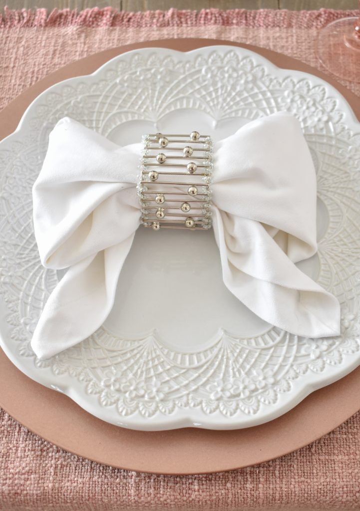 Blush Pink and White Valentine's Day Tablescape Napkins - Home with Holliday
