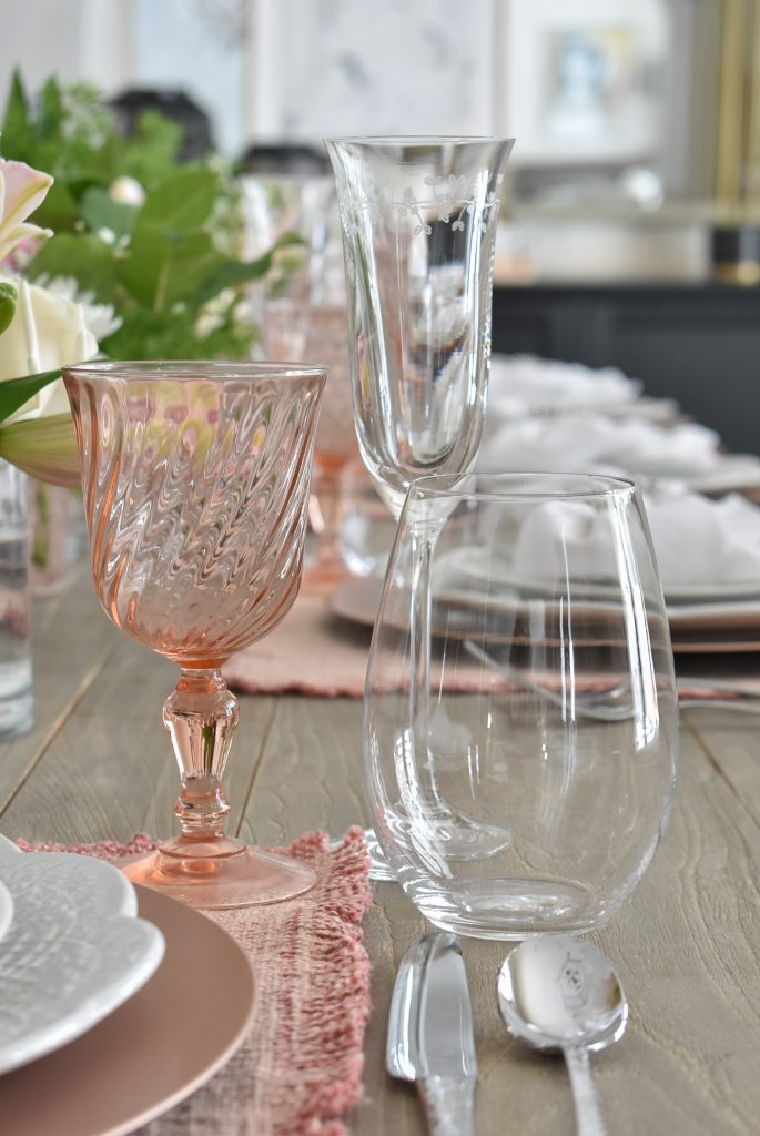 Blush Pink and White Valentine's Day Tablescape Stemware - Home with Holliday