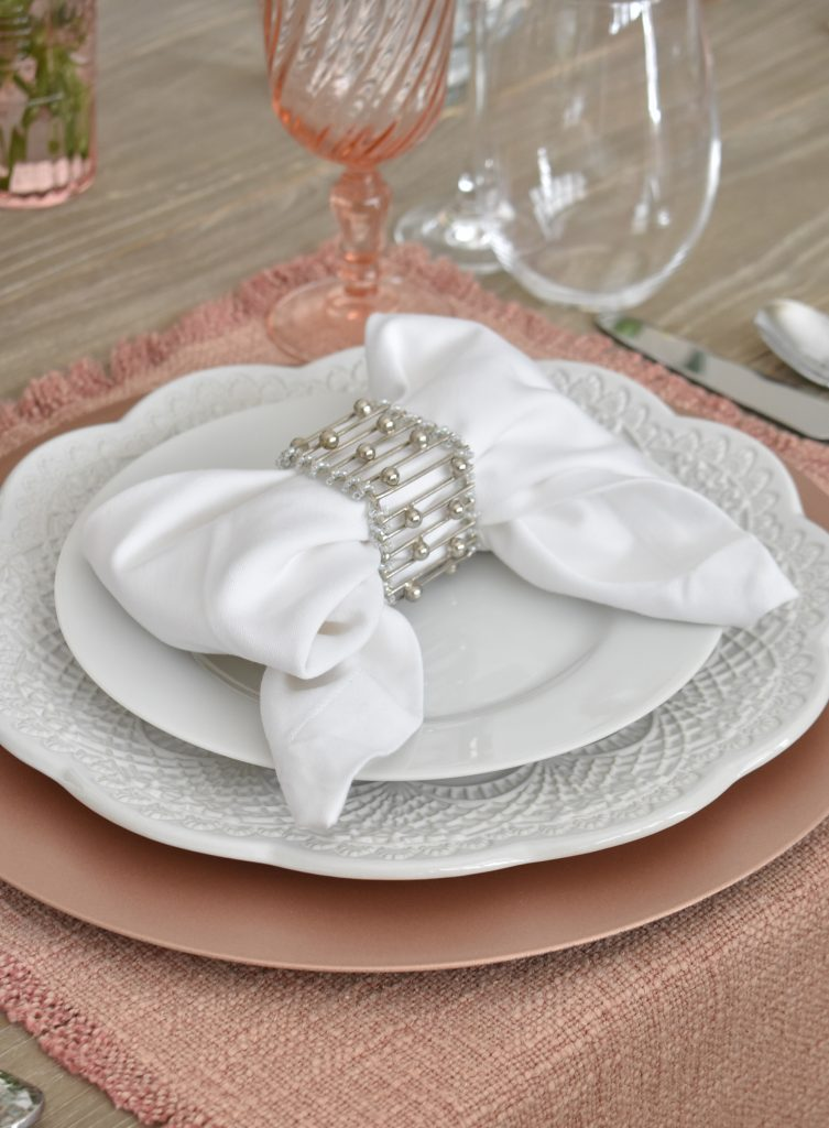 Blush Pink and White Valentine's Day Tablescape Placesetting - Home with Holliday