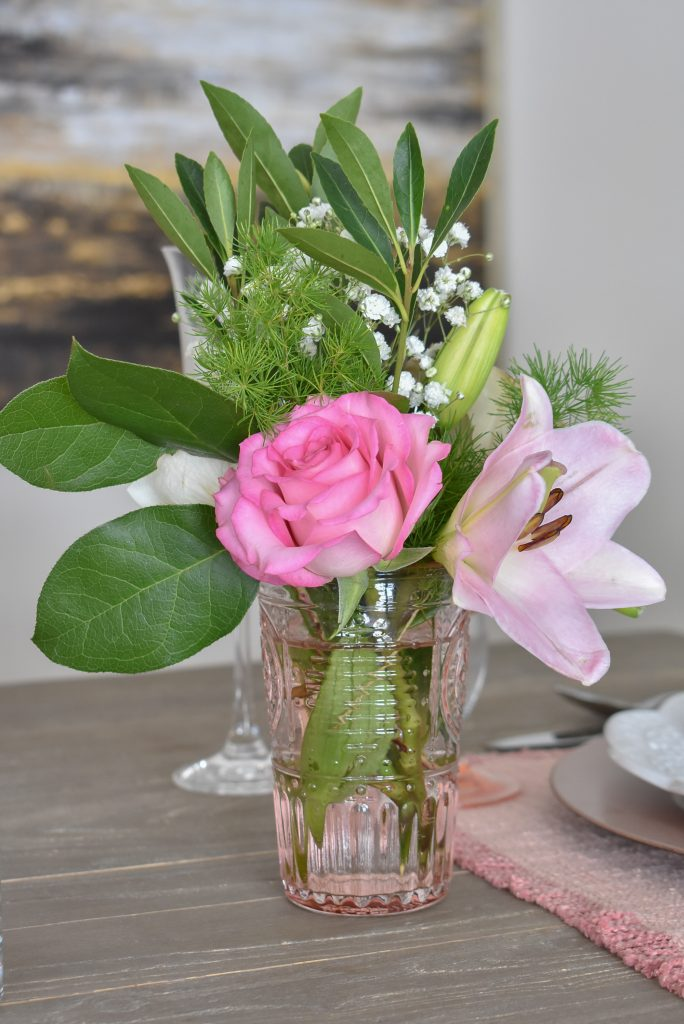 Flowers for a Blush Pink and White Valentine's Day Tablescape - Home with Holliday