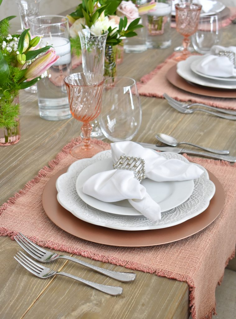 Our Blush Pink and White Valentine's Day Tablescape - Home with Holliday