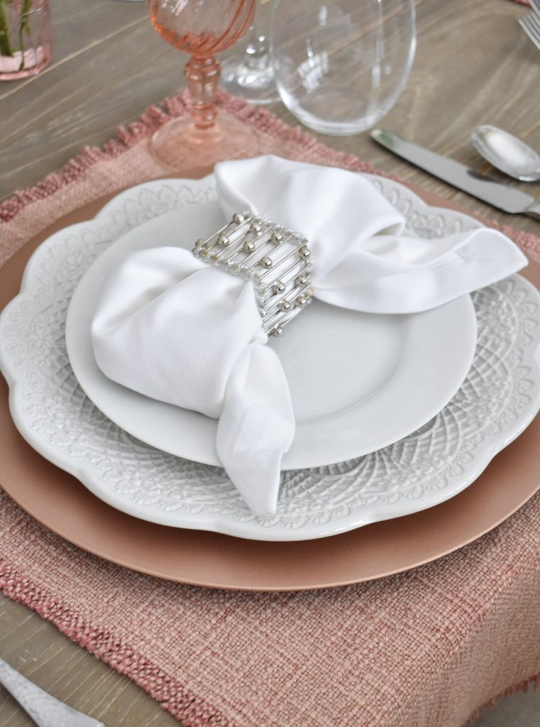 Blush Pink and White Valentine's Day Tablescape Placesettings - Home with Holliday