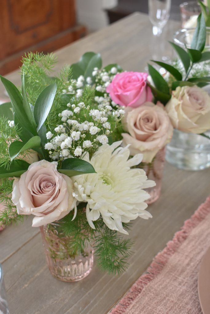 Blush Pink and White Valentine's Day Tablescape Flowers - Home with Holliday