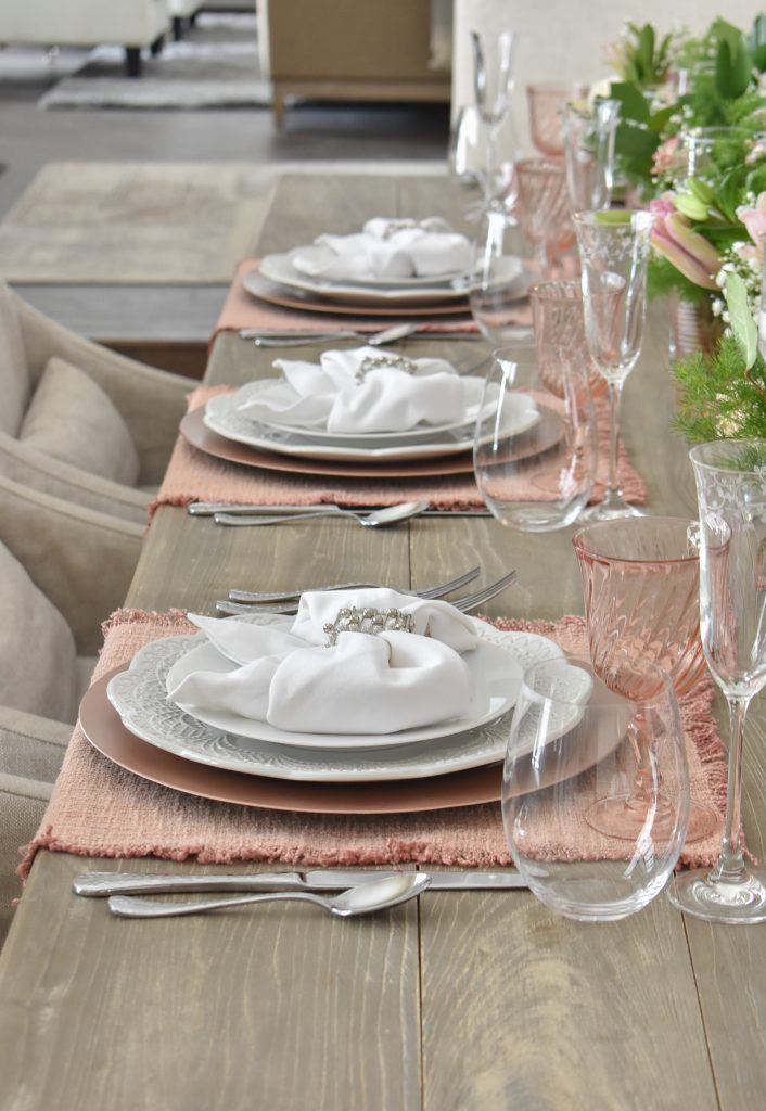 Blush Pink and White Valentine's Day Tablescape - Home with Holliday