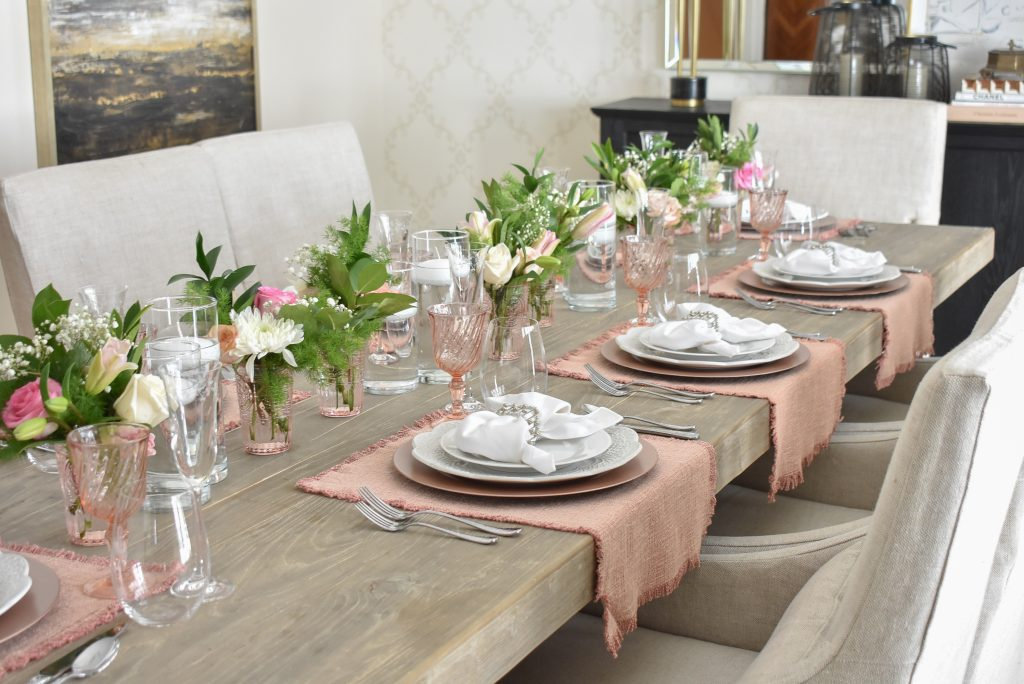Blush Pink and White Valentine's Day Tablescape Centerpiece - Home with Holliday