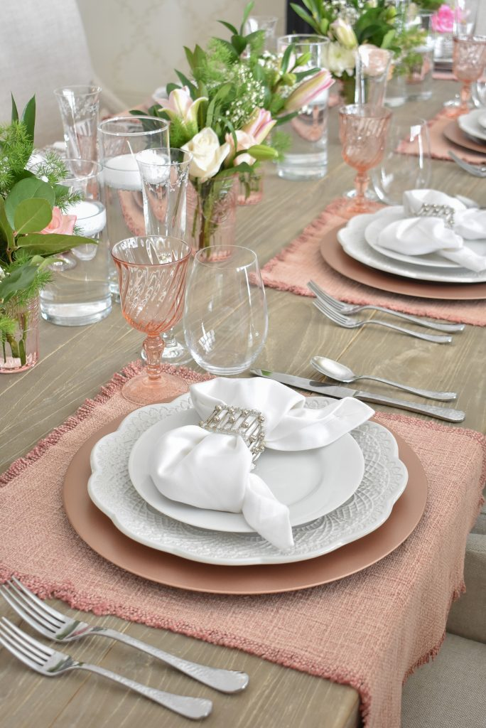 A Blush Pink and White Valentine's Day Tablescape - Home with Holliday