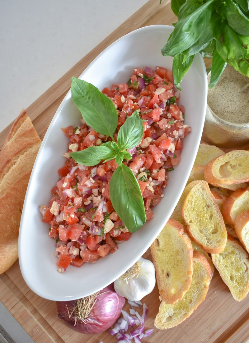 Mediterranean Tomato Bruschetta Appetizer - Home with Holliday