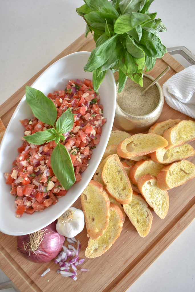 Simple Mediterranean Tomato Bruschetta Appetizer - Home with Holliday
