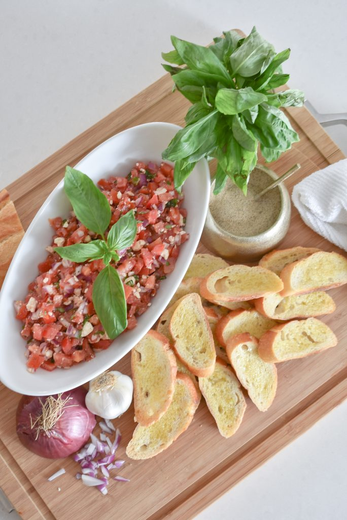 Fresh Mediterranean Tomato Bruschetta Appetizer - Home with Holliday