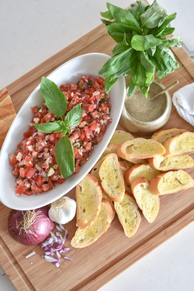Easy Mediterranean Tomato Bruschetta Appetizer - Home with Holliday