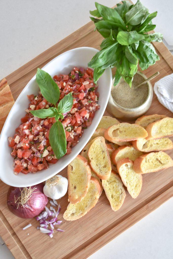 Easy Mediterranean Tomato Bruschetta Appetizer - Home with Holliday