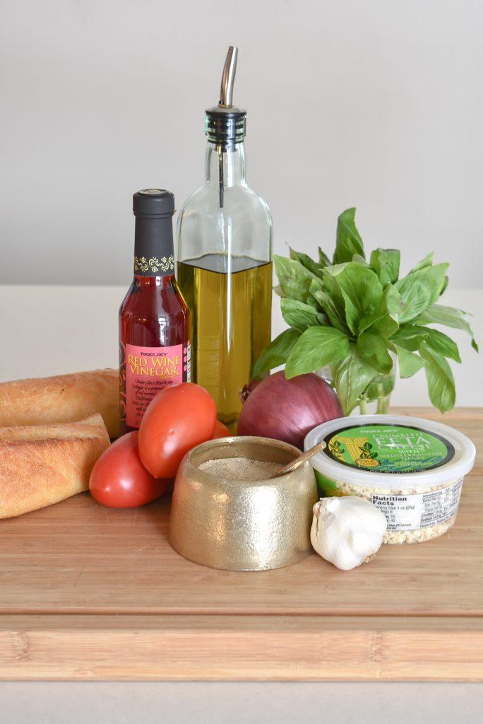 Ingredients for My Mediterranean Tomato Bruschetta Appetizer - Home with Holliday