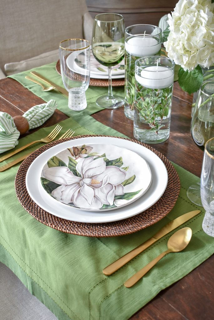 Simple Spring Green and White Tablescape Place Setting- Home with Holliday