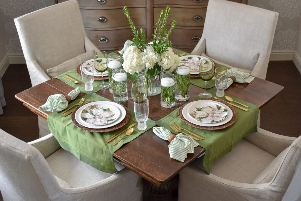 Simple Spring Green and White Tablescape - Home with Holliday