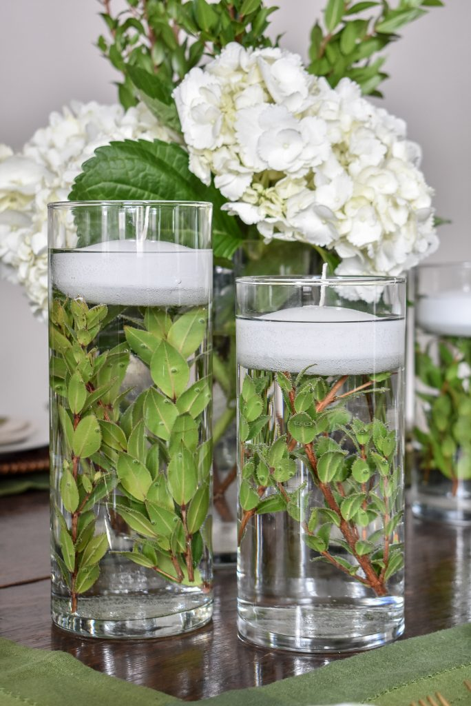 A Simple Spring Green and White Tablescape Centerpiece - Home with Holliday