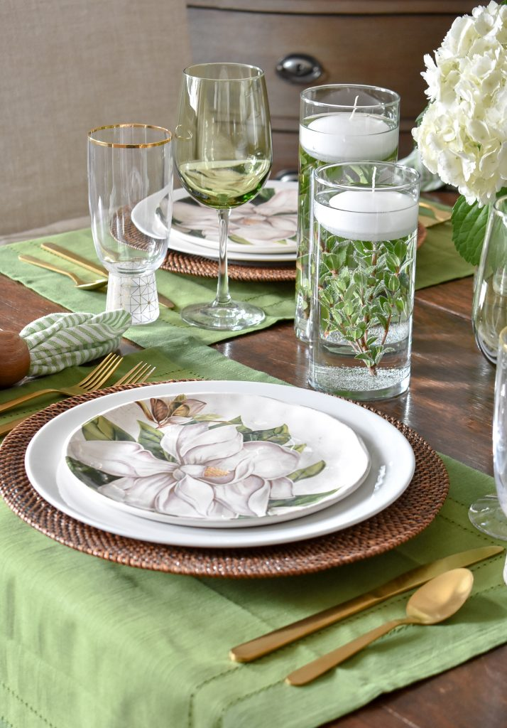 My Simple Spring Green and White Tablescape - Home with Holliday