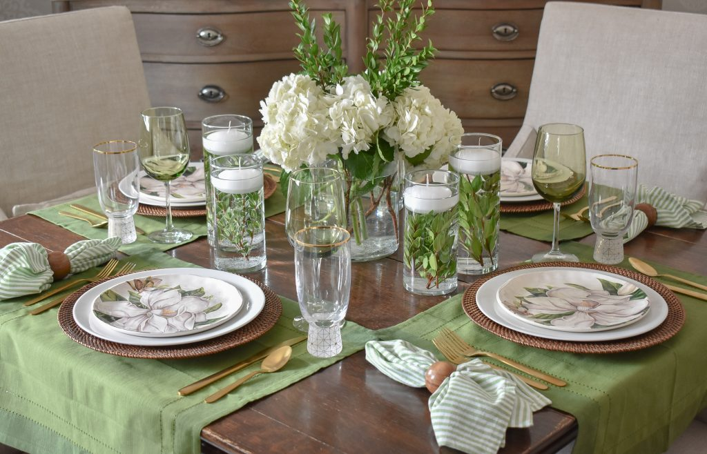 A Simple Spring Green and White Tablescape - Home with Holliday