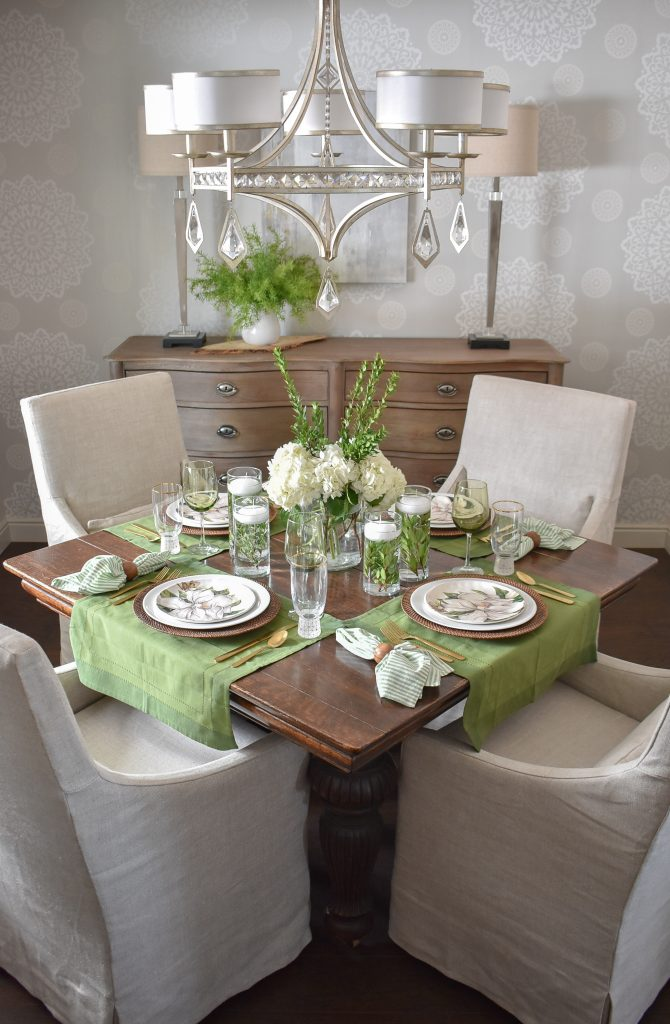 Our Simple Spring Green and White Tablescape - Home with Holliday
