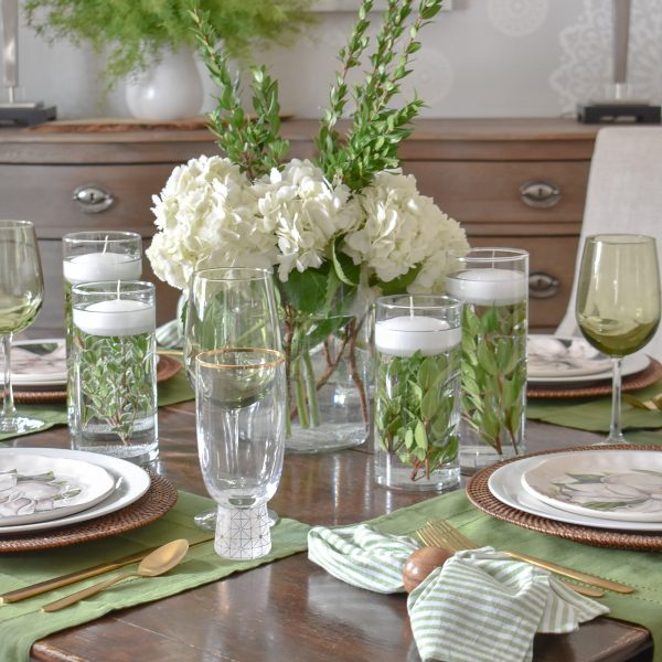 Simple Spring Green and White Tablescape