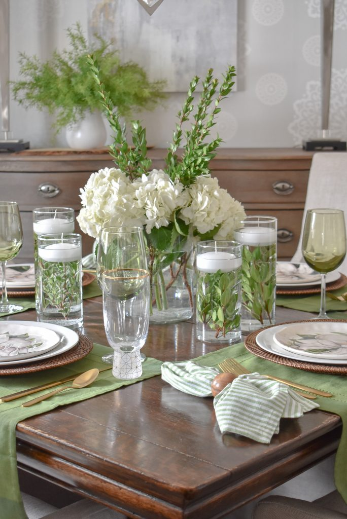 Simple Spring Green and White Tablescape Centerpiece - Home with Holliday