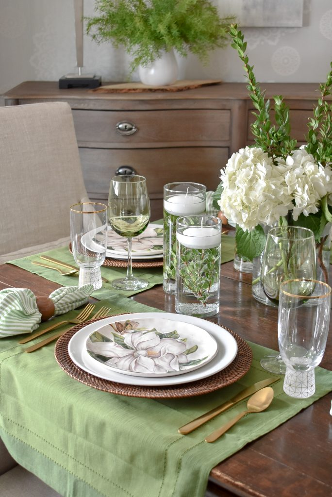 Simple Spring Green and White Tablescape Details - Home with Holliday